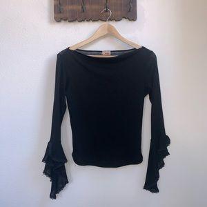 Vintage | Black Draped Ruffle Sleeve Blouse